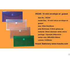 Hs245 10 Mini Velcro Envelope W Gusset