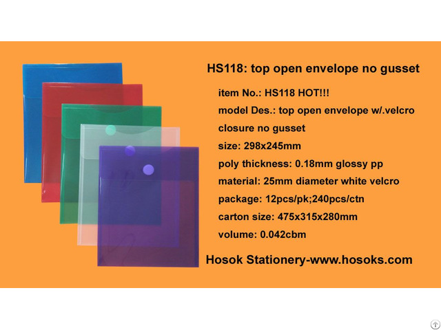 Hs118 Top Open Envelope W Velcro Closure No Gusset