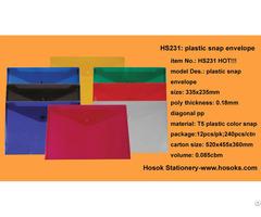 Hs231 Plastic Snap Envelope