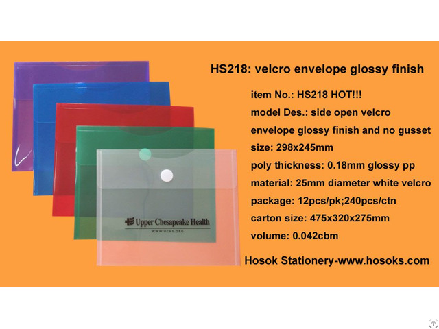 Hs218 Side Open Velcro Envelope Glossy Finish And No Gusset