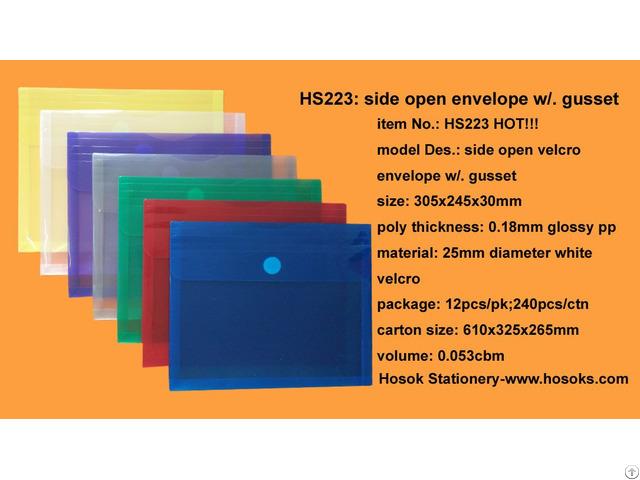 Hs223 Side Open Velcro Envelope W Gusset