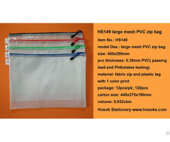 Hs149 Large Mesh Pvc Zip Bag