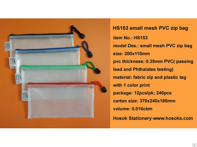 Hs153 Small Mesh Pvc Zip Bag