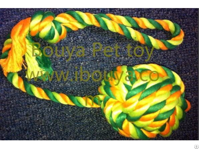 Dog Toy Tough Twist Rubber And Rope Ball Tug 11