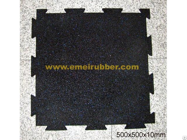 Interlocking Black Rubber Tile For Gym