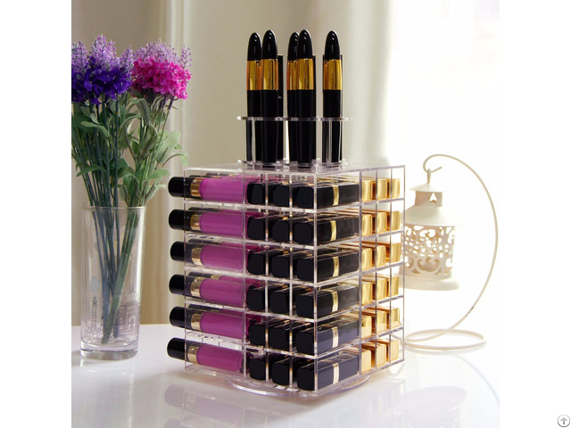 Lifewit Acrylic 81 Slot Rotating Cosmetic Storage Box