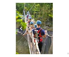 Suspension Glass Wood Bridge Amusement Equipment