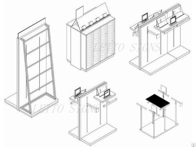 Movable Adjustable Clothing Rack Display With Rails Wholesale
