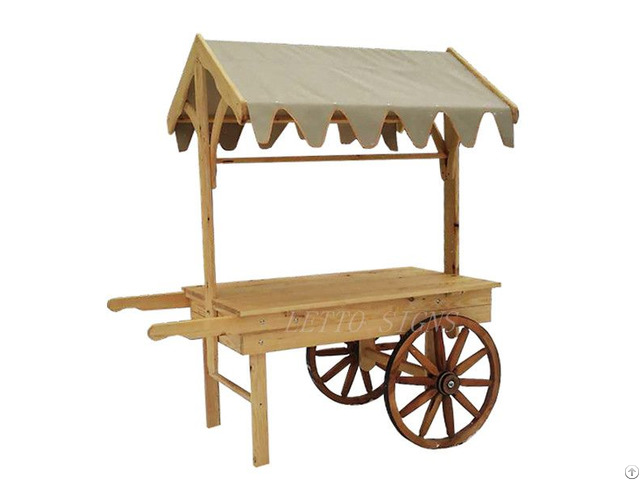 Shop Food Sales Promotion Two Wheels Wooden Wagon Display