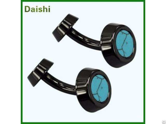Custom Logo Sewing Cuff Link With Turquoise