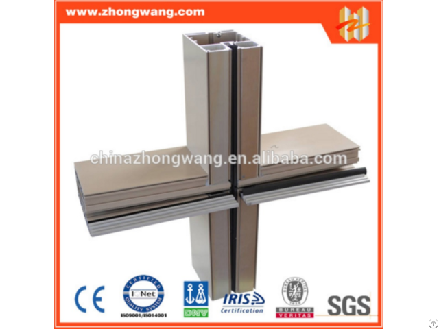 Customized Aluminium Alloy Extrusion Frame Profiles For Curtain Wall