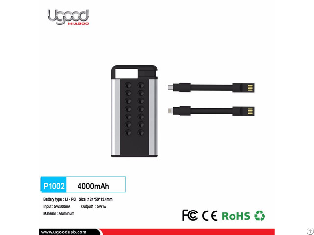 Built In Cable 4000 Mah Power Bank