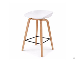 Special Price Commercial Furniture White Plastic Seat Bar Stool With Wooden Legs