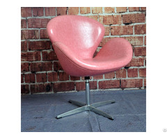 Bossion Admiral Pink Leather And Polished Brass Egg Chair