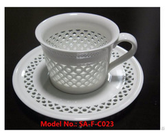 Glowing Porcelain Coffee Tea Cup With Saucer