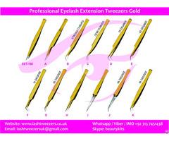 Professional Eyelash Extension Tweezers Gold