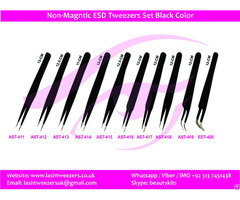 Non Magntic Esd Tweezers Set Black Color
