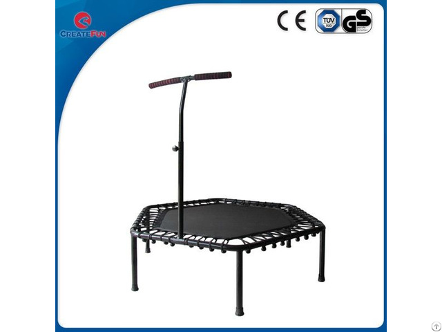 Createfun Mini Indoor Rebounder Hexagon Fitness Trampoline With Handle Bar