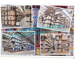 Blue And Safety Orange Double Deep Pallet Racking Heavy Duty Steel Industrial Racks