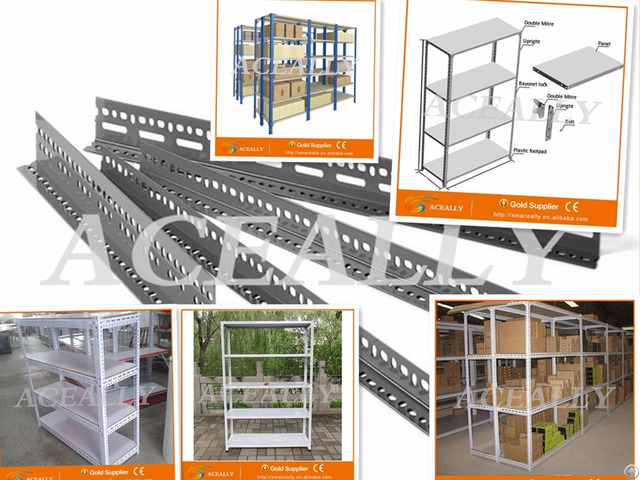 Warehouse Storage Slotted Angle Shelving Metal Shelf Library Rack