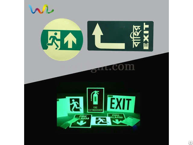 Fire Exit Signs Glow In The Dark Safety Symbol Photoluminescent Egress Marking