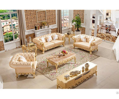 Italian Style Gold Leather Sofa For Livingroom