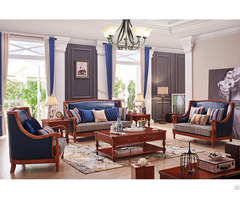 Solid Wood American Country Style Sofa With Fabric And Leather In Livingroom