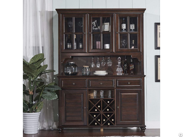 American Village Solid Wood Glass Wine Cabinet Design