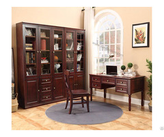 American Country Glass Door Bookcase With Drawer Design