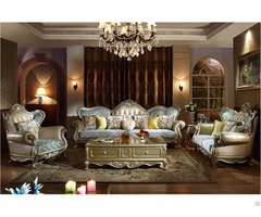 French New Classical Fabric And Leather Combination Sofa