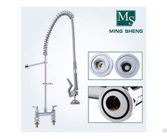 High Quality Deck Mount Dual Handle Kitchen Pre Rinse Mixer Tap Ms 5804a