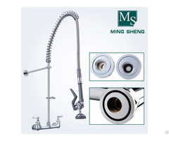 Factory Direct Wall Mounted Centerset Dual Handle Pre Rinse Unit With Pull Out Spray Ms 5803a