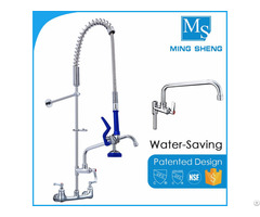 Chrome Plated Wall Mounted Kitchen Pre Rinse Unit Water Tap With Add On Faucet