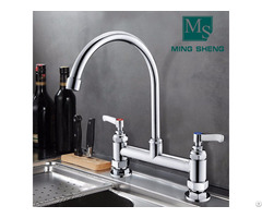 Chrome Plating Deck Mounted Kitchen Sink Pantry Faucet Water Tap