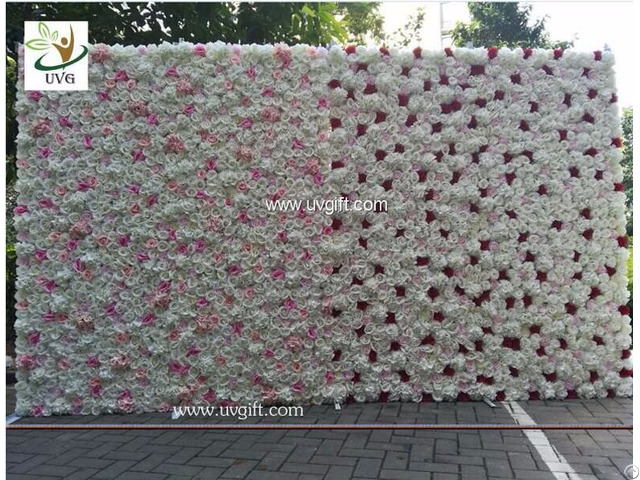 Uvg Pink Rose Artificial Flower Wall In Silk Flowers Head For Wedding Backdrop Decorations