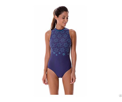 Women S Printed High Neck Maillot Athletic Training One Piece Swimsuit