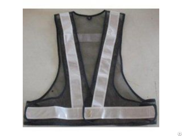 Black Safety Belt Vest With White Reflective Tape