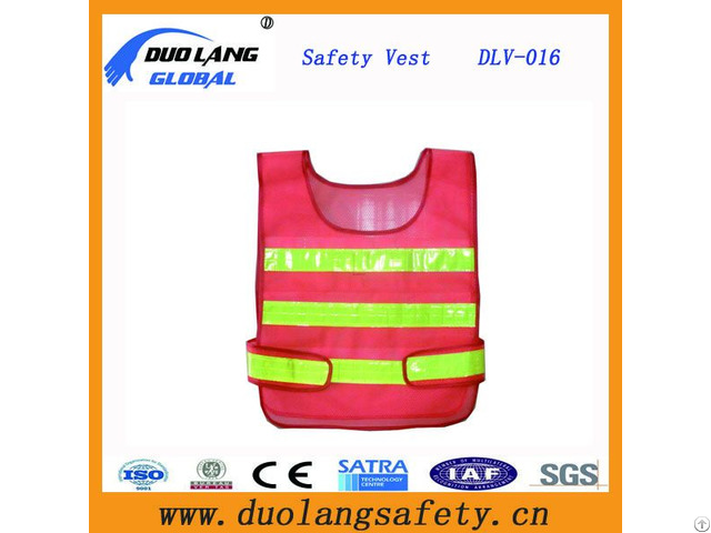 Orange Mesh Reflective Safety Vest With Warning Tape