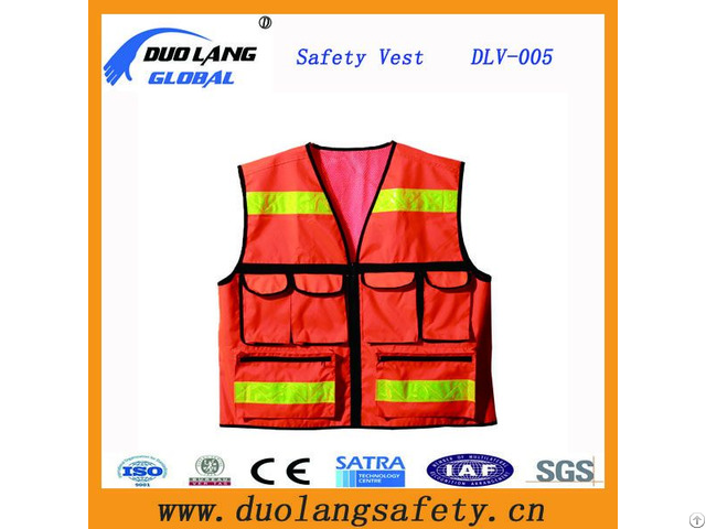 Wholesale Price Orange Reflectiove High Vis Safety With Pockets