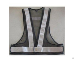 Black Safety Belt Vest With White Reflective Tape