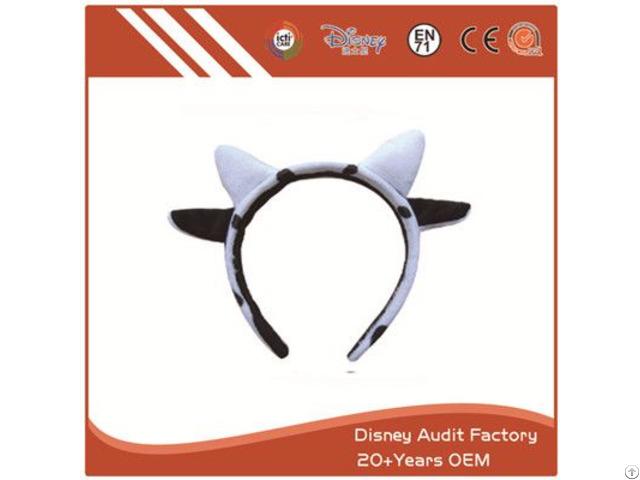 Plush Cow Ears Headband Embroidered
