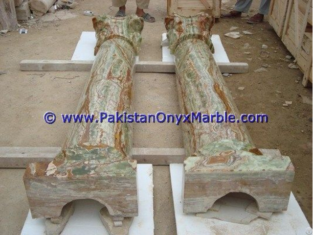 Dark Green Onyx Columns Handcraved Pillars Carved Top
