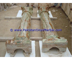 Dark Green Onyx Columns Handcraved Pillars Carved Top