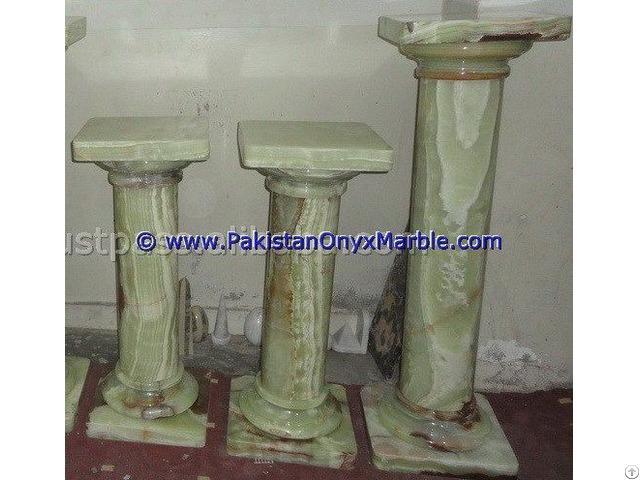Green Onyx Columns Handcraved Pillars Carved Top