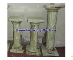 Green Onyx Columns Handcraved Pillars Carved Top