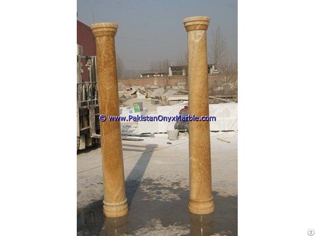Honey Onyx Columns Handcraved Pillars Carved Top