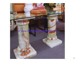 Light Green Onyx Columns Handcraved Pillars Carved Top
