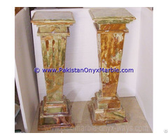 Multi Brown Onyx Columns Handcraved Pillars Carved Top