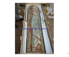 Multi Green Onyx Columns Handcraved Pillars Carved Top