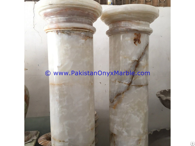White Onyx Columns Handcraved Pillars Carved Top